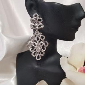 """Jewelry - New Crystal Rhinestone Chandelier Earrings 2 3/4"""""""